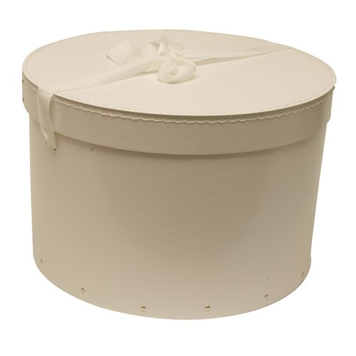 13 1/2 x 9 1/4 White (Round) Hat Box with Ribbon - Sold individually