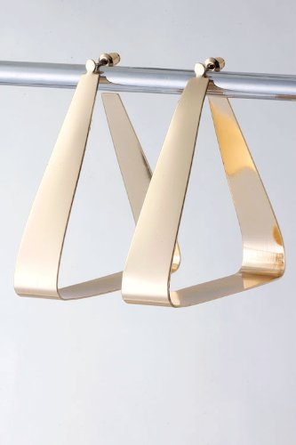 Trendy Fashion Jewelry Triangle Cut Out Earrings By Fashion Destination | (Gold)