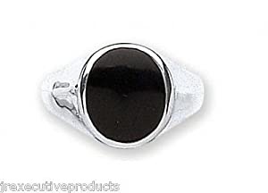 Gents Heavy Sterling Silver Real Onyx Oval Signet Ring (size R - Z available)