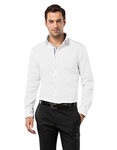 VB -  Camicia classiche  - Basic - Classico  - Maniche lunghe  - Uomo Bianco / Blu  Medium
