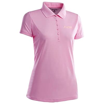 Atlanta Braves Womens Pique Xtra Lite Polo Shirt (Pink)