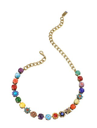 'Vintage' Collection Necklace Designed by Amaro Jewelry Studio Enhanced with Flower, Star and Butterfly Elements Set with Chinese Turquoise, Amazonite, Rhodonite, Blue Onyx, Pink Howlite, Yellow Jade, Green Jade, Amethyst and Swarovski Crystals
