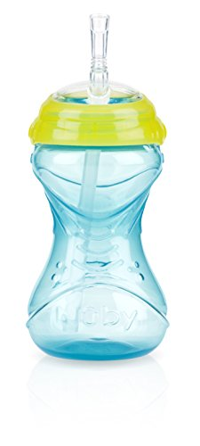 Nuby No Spill Clik-It Straw Cup, 12 Months Plus, Aqua
