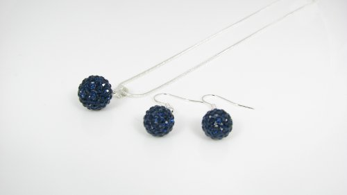 Special Offer Shamballa Genuine drop Earrings 10mm + 12mm Indigo crystal Pendant with a 16 inch 42cm Necklace excellent quality for a fraction of the RRP