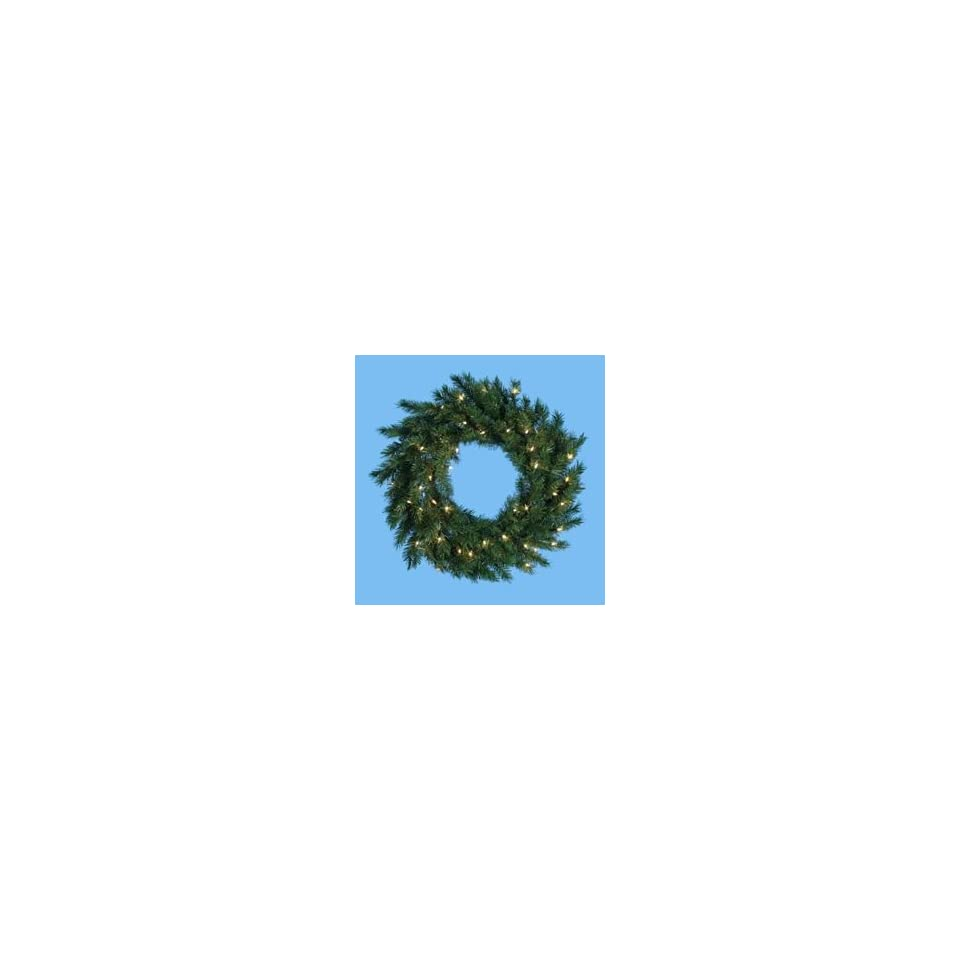 48 LED Lighted Classic Pine Artificial Christmas Wreath   Warm White Lights