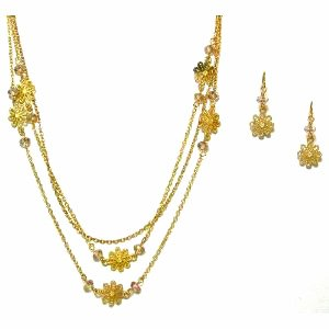 Just Give Me Jewels Goldtone 33 Inch Triple Chain Dainty Flower Necklace and Matching Earrings