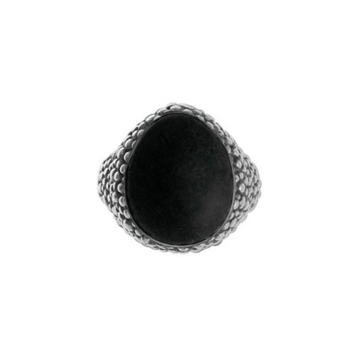 Boma Black Onyx & Oxidized Sterling Silver Bubble Ring (size: 6)
