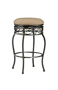 Hillsdale Lincoln 26-Inch Backless Swivel Counter Stool, Black Gold Finish with Beige Fabric