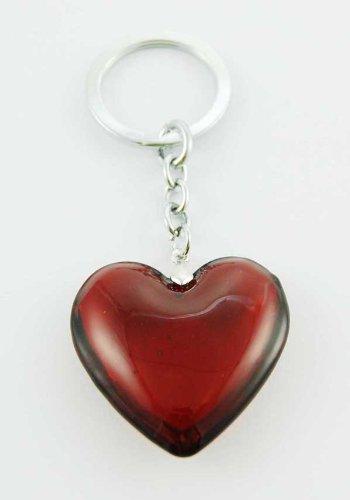 Keyring Heart Red Glass