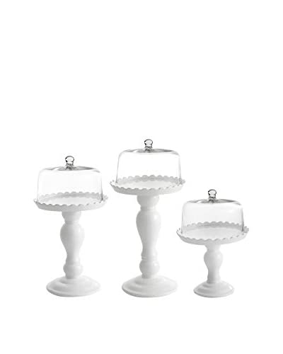 American Atelier Set of 3 White Cake Pedestals with Glass Domes