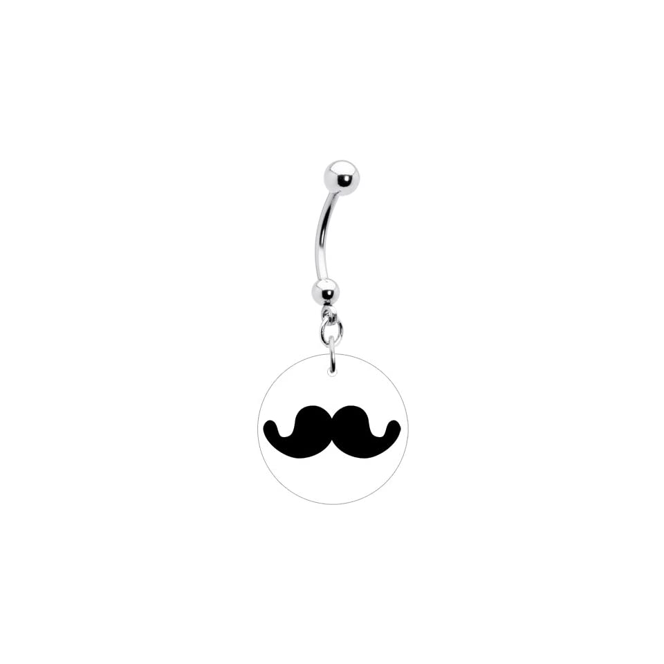 Stainless Steel Black Mustache Graphic Belly Ring