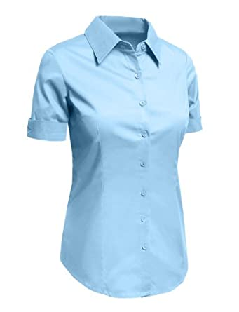 Le3no womens plus size tailored short sleeve button down for Womens stretch button down shirt