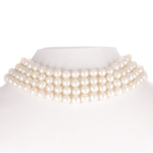 1.7 Carat Diamond South Sea Pearl 4 Strand Deco