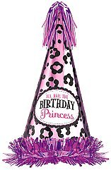 "Amscan Another Year of Fabulous Elegant Princess Cone Hat with Foil Fringe, Pink/Black/Violet, 13"" - 1"