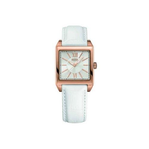 Hugo Boss 1502239 - Reloj analógico de mujer de cuarzo con correa de piel blanca
