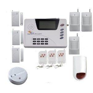 Wireless GSM burglar/ alarm system the package includes 1 MAIN PANEL+3 PIRs+3 DOOR SENSORS+3REMOT CONTROLERS+1INDOOR SIREN+1OUTDOOR SIREN, 1YEARS WARRANTY ,FAST DELIVERY