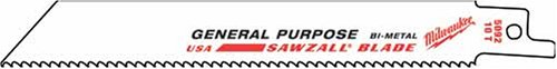Milwaukee 48-00-5185 Super Sawzall Blade 24 Teeth Per Inch 4-Inch Length