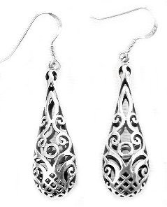 Click Here 3D Bell Filigree Earring in Silver