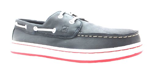 Boy's Cupsole 2 Eye Sperry Navy/red Lace Up Leather Boat Shoes