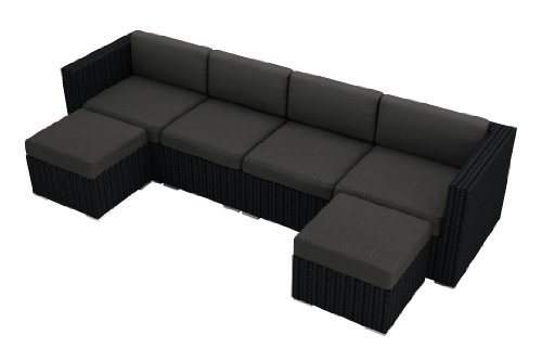 Harmonia Living Urbana 6 Piece Modern Patio Wicker Sectional Sofa Set with Gray Sunbrella Cushions (SKU HL-URBN-6SECT-CC) photo