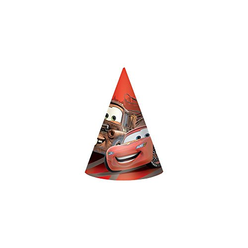 "Disney Cars 6"" Paper Cone Hats (8 Pack)"
