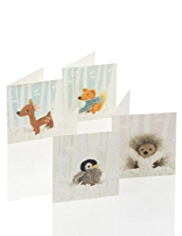 24 Cute Animal Christmas Multipack of Cards