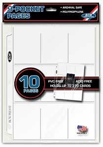 10ct BCW 9-Pocket Trading Card Binder Pages - 1