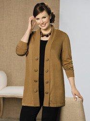 Ulla Popken Plus Size Big Button Cardigan Sweater - Camel, 36/38