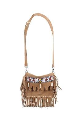 Lola Moda Womens Native American Leather Bag Purse Embroidery Fringe