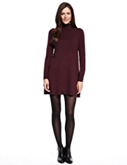 M&S Collection Roll Neck A-Line Knitted Tunic Dress with Wool