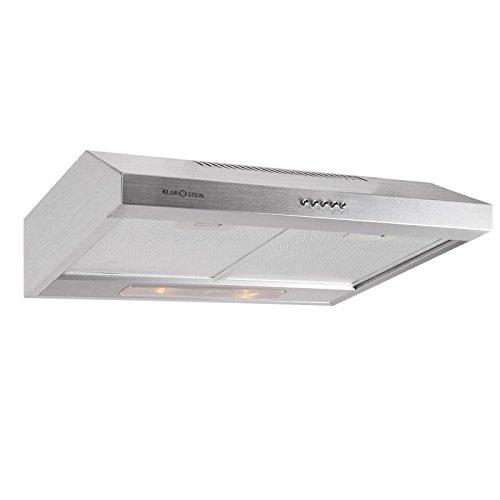 Klarstein 90MS7 Cappa aspirante da cucina in acciaio inossidaible spazzolato (300m³/h, aspiraggio, lampade alogene, 2 filtri)