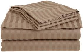 "Egyptian Cotton 800 Thread Extra Deep Pocket 21"" Sheet Set 4-Pieces Color : Taupe Striped , Size : King Made By Quality Linen front-1038644"