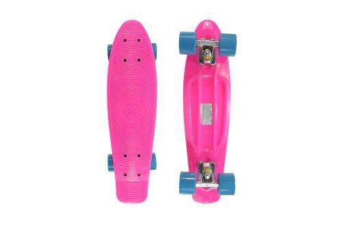 Stereo Vinyl Cruiser Plastic Complete Skateboard (Pink, 22.5x6-Inch)