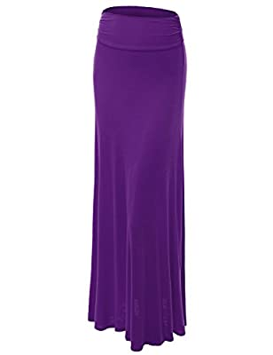 MBJ Womens Lightweight Floor Length Maxi Skirt