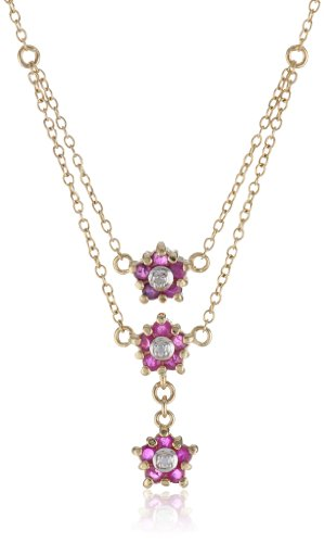 18k Yellow Gold Plated Sterling Silver 3-Row Ruby Flower Necklace: Jewelry