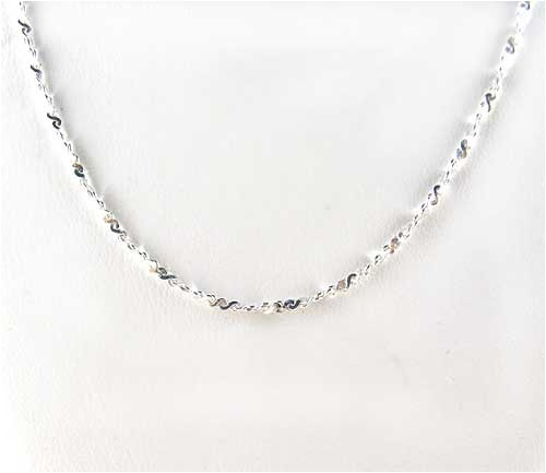 Sterling Silver Sparkling Italian Twist Serpentine Chain, 16