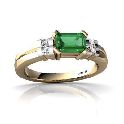 14ct Yellow Gold Emerald-cut Lab Emerald Ring