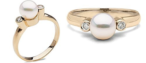 Pearl Paradise Women's Akoya Pearl And Diamond Ring