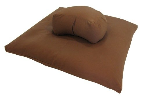 Buckwheat Crescent Zafu and Zabuton Meditation Cushion Set (2pc), Cinnamon