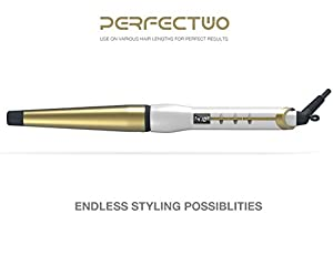 Curling iron, Perfectwo Studio Salon Collection Digital Ceramic Curling Wand, Hair curler, White-Gold
