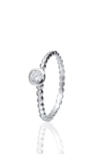 Stack Ring Co, White Soda, Freedom Collection, .925 Sterling Silver, Rhodium Plated, Size 7