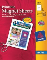 Avery Ink Jet Magnet Sheets Matte White 8 1/2