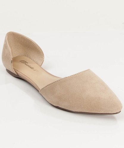 Women Fashion Designer Inspired Pointy Toe D'Orsay Flat Taupe (7.5)