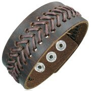 Urban Male Brown Leather Wristband Bracelet For Men 25mm