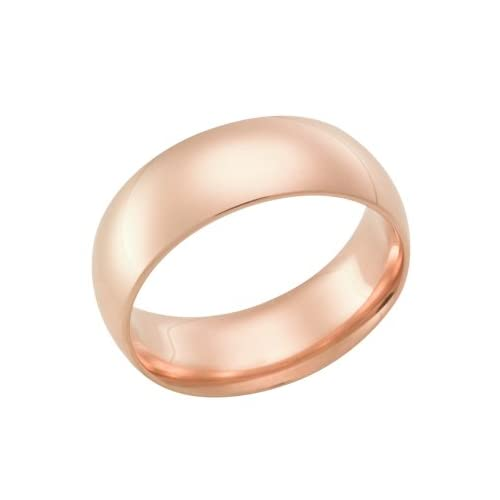 8.0 Millimeters Rose Gold Heavy Wedding Band Ring 18kt Gold, Plain Half Round Style PHR08, Finger Size 10