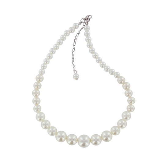 White Colored Pearl Graduated Necklace with Silver Colored Clasp and Extension
