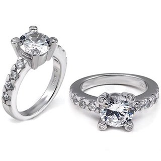 Bridget's Sterling Silver Round Cut CZ Promise Ring - 8