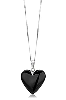 Miore 9 ct White Gold Black Agat and Diamond Heart Pendant on 45 cm Chain