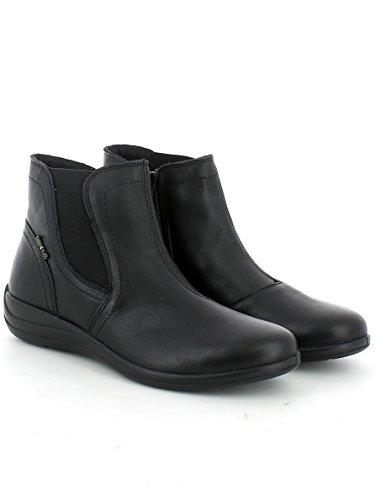 Chelsea in pelle nera con elastico e zip