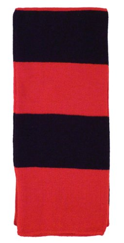 Simplicity Cozy Rugby Scarf W/ Bold Striped Pattern, Red/Black front-1014825